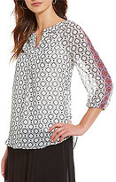 I.N. Studio Split V-Neck Geo Border Placement Print Top