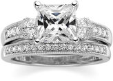 JCPenney FINE JEWELRY DiamonArt Princess-Cut Cubic Zirconia Sterling Silver Bridal Ring Set