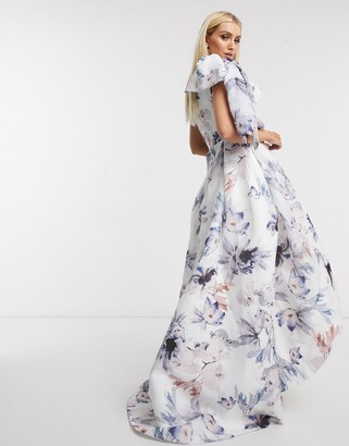 Bariano one shoulder dress with bow detail in blue floral