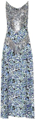 Paco Rabanne Floral chain-mail and satin maxi dress