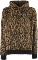Laneus Black And Brown Wool Blend Leopard Print Hoodie