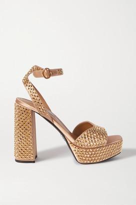 Prada 115 Crystal-embellished Satin Platform Sandals - Gold