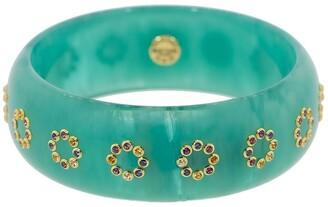 Mark Davis 18k Gold Sapphire Bakelite Bangle Bracelet