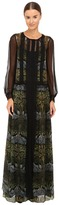 Alberta Ferretti Long Sleeve Sheer Overlay Printed Maxi Dress Women's Dress