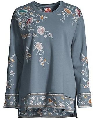 Johnny Was Serafina Hi-Low Embroidered Sweatshirt