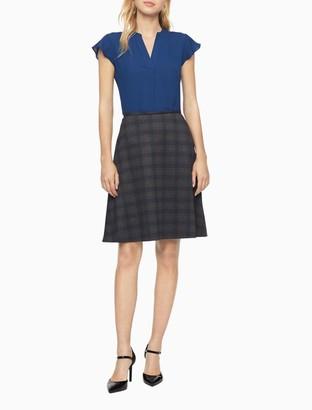 Calvin Klein Plaid A-Line Skirt