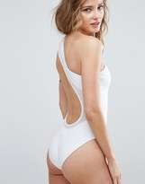 Asos One Shoulder Scuba Swimsuit with Mesh Insert