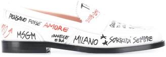 MSGM Sketch Print Loafers