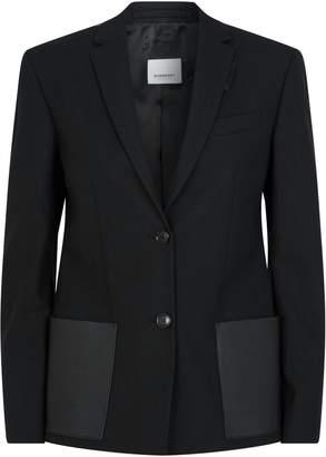 Burberry Leather Pocket Wool Blazer