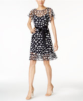 Jessica Howard Petite Printed Belted Illusion Dress