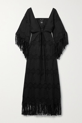 Miguelina Francesca Fringed Embroidered Cotton-blend Maxi Dress - Black