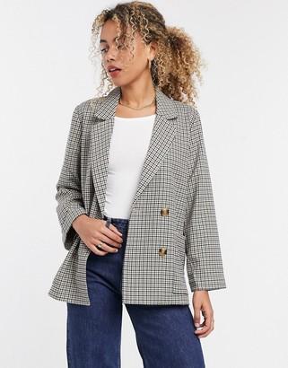 Monki Twiggy check print relaxed blazer in multi