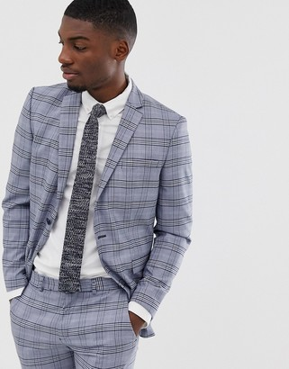 Selected slim suit jacket in gray check