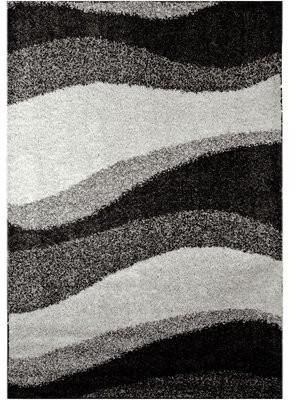 "Nicole Miller Synergy Wave Gray Area Rug Rug Size: Rectangle 52"" x 72"""