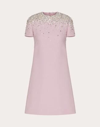 Valentino Embellished Short Crepe Couture Dress Women Pink Virgin Wool 65%, Silk 35% 36