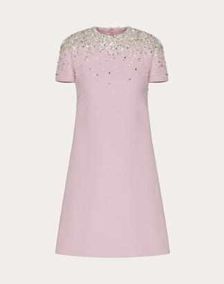 Valentino Embellished Short Crepe Couture Dress Women Pink Virgin Wool 65%, Silk 35% 40
