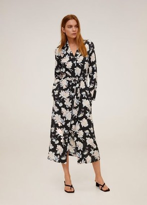 MANGO Printed shirt dress black - 4 - Women