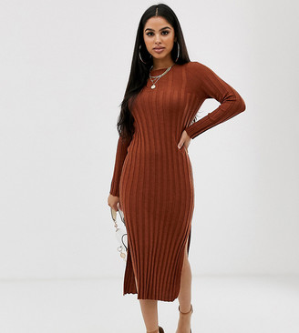 Asos DESIGN Petite fine knit ribbed midi dress in recycled blend-Brown