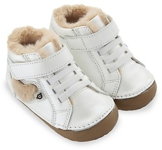 Old Soles Baby's Faux Fur-Trim With Love Pave High-Top Sneakers