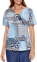 Alfred Dunner Short Sleeve Novelty Neck Print Top