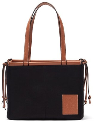 Loewe Cushion Small Canvas Tote Bag - Black Tan