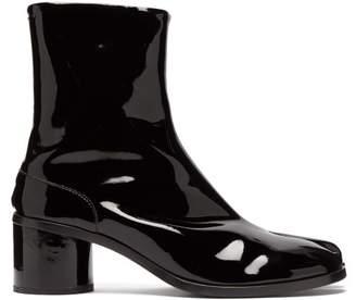 Maison Margiela Tabi Split Toe Patent Leather Boots - Mens - Black
