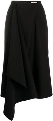 Ssheena Split-Hem Draped Midi Skirt