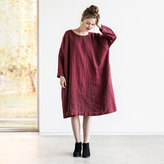 Etsy Oversized loose fitting linen dress with DROP SHOULDER long sleeves in deep burgundy / Washed linen