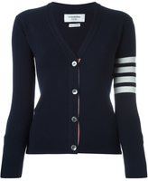 Thom Browne striped detailing cardigan - women - Cashmere - 40