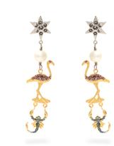 Miu Miu Flamingo and scorpion clip-on earrings