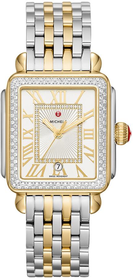 Michele Deco Madison Diamond Watch, Silver/Gold