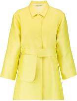 Emilia Wickstead Madge belted duchesse-satin coat