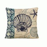 Marine life Seashell Cotton Linen Throw Pillow cover Children's Day