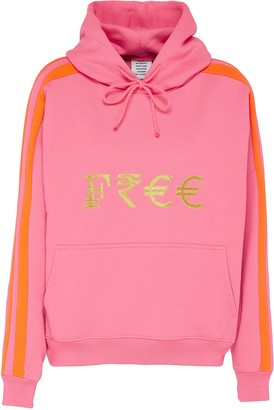 Vetements Free' gold-toned embroidered slogan currency hoodie