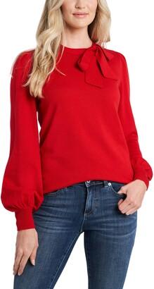 CeCe Bow Neck Blouson Sleeve Cotton Blend Sweater