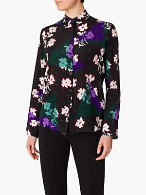 Paul Smith Electric Patunia Floral Print Silk Shirt, Black/Multi