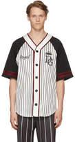 Dolce & Gabbana Black and White Striped Baseball Shirt