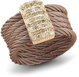 Alor 18K Gold Plated Stainless Steel Diamond Bronze Ring - Size 7 - 0.14 ctw