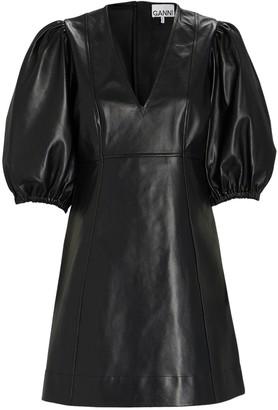 Ganni Leather Puff Sleeve Mini Dress