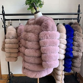 LON 70CM Women Fur Coat Fox Real Natural Winter Fur Vest Girl Coat Womens Vests Fox Coat Genuine Natural Women Fox Fur Coat Pink