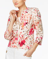 Calvin Klein Cropped Floral-Print Moto Jacket