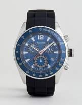 Accurist Silicon Strap Chronograph Watch In Black