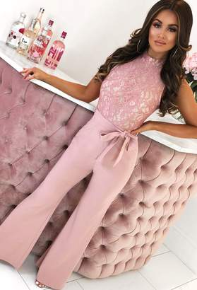 Pink Boutique Bronx Beauty Blush Pink Lace Tie Waist Wide Leg Jumpsuit