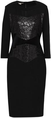 Antonio Berardi Organza And Metallic Lace-paneled Wool Dress