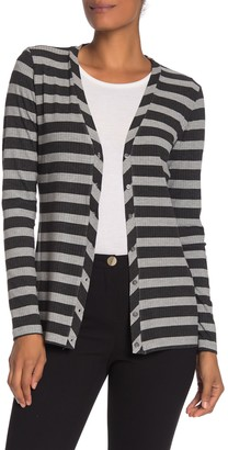 M Magaschoni Long Sleeve Striped Ribbed Knit Cardigan