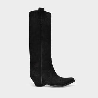 Maison Margiela Long Boots Sendra In Black Velvet Leather
