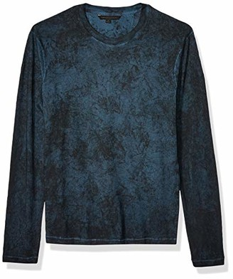 John Varvatos Men's Denver LS Crew Neck TEE W Overdye and Pickstitch