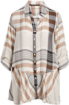 Apothic Women's Button Down Shirts CARAMEL - Caramel Plaid Peplum Button-Up Top - Women & Plus