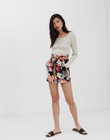Stradivarius tie waist short in tropical print