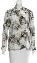 Maje Leopard Print Silk Top